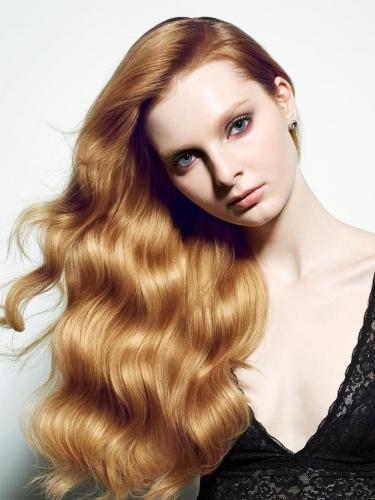 New York hair photographer long wavy copper bronze hair model araman
