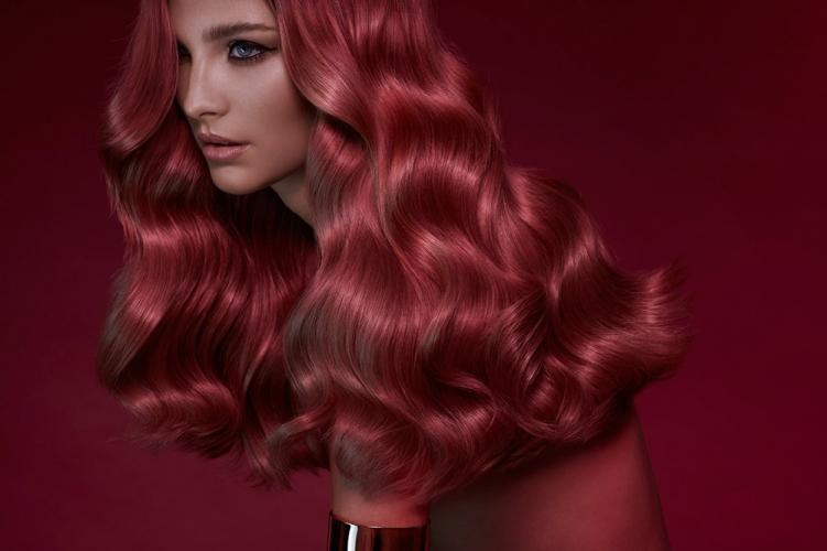 New York hair photographer long wavy red hair model facing right side araman