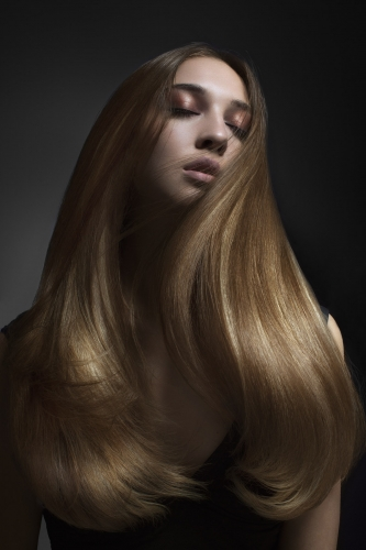 Long straight hair with model eyes closedNew York Hair photographer - toufic araman